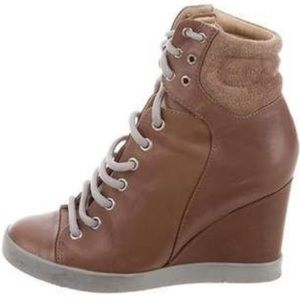 See by Chloe Lace Up Wedge Sneaker Brown 9
